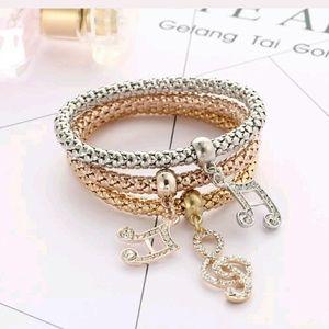 Set of 3 musical note bracelets